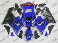 Kawasaki ZX6R Black Flame on Blue Fairings