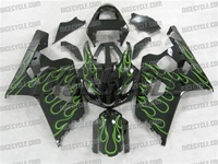 Green Flames Suzuki GSX-R 600 750 Fairings