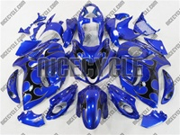 Suzuki GSX-R 1300 Hayabusa Black Tribal on Blue Fairings