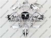 Kawasaki ZX9R Black Tribal/Silver Fairings