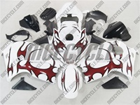 Suzuki GSX-R 1300 Hayabusa Red Tribal on White Fairings