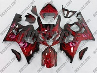 Airbrushed Red Suzuki GSX-R 600 750 Fairings