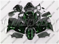 Suzuki GSX-R 1300 Hayabusa Metallic Green Flames Fairings