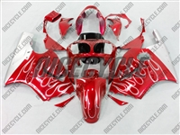 Kawasaki ZX12R Red/White Flames Fairings