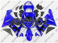 Kawasaki ZX6R Black Tribal on Blue Fairings
