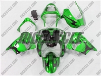 Kawasaki ZX9R Metallic Green Tribal Fairings