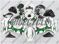 Suzuki GSX-R 1300 Hayabusa Green Tribal on White Fairings