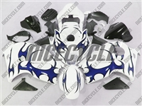 Suzuki GSX-R 1300 Hayabusa Blue Tribal on White Fairings