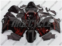 Suzuki GSX-R 1300 Hayabusa Red Airbrush on Black Fairings
