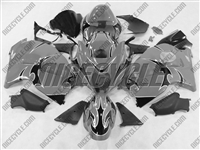 Black Tribal on Silver Suzuki GSX-R 1300 Hayabusa Fairings