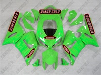Kawasaki ZX6R Green on Green Flame Fairings