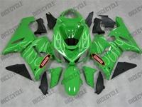Kawasaki ZX6R Ghost Flame on Green Fairings