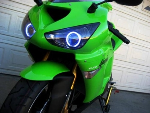 Kawasaki Zx6r 03 06 Dual Hid Projector Ccfl Halo Eyes Kit