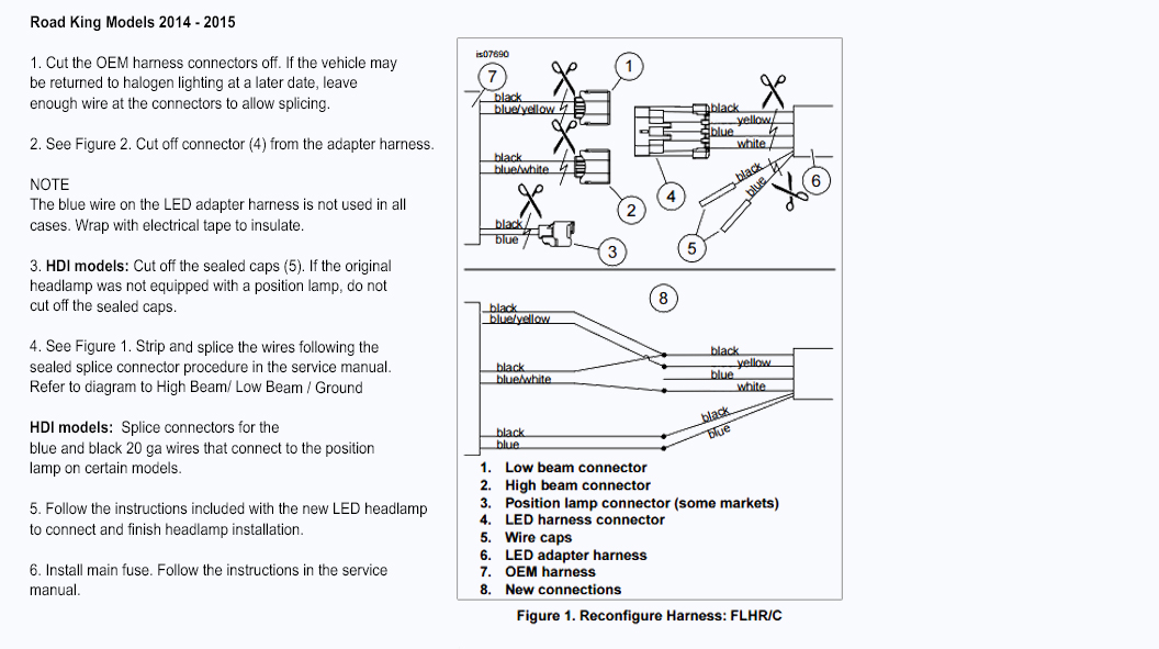 instruction harley davidson wire harness led daymaker headlight adapter pn Harley Sportster Wiring Diagram at gsmx.co