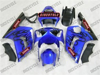 Kawasaki ZX6R Black Flame/Blue Fairings