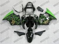 Kawasaki ZX6R Electric Green Flames Fairings