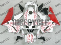 Honda CBR 600RR Red Flame on White Fairings