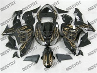 Kawasaki ZX10R Gold/Silver Flames Fairings