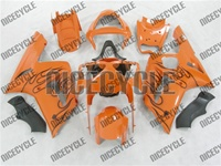 Kawasaki ZX6R Black Flame/Orange Fairings