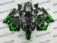 Green Tribal Kawasaki ZX12R Fairings