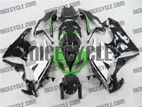 White/Black/Green Kawasaki ZX6R Fairings