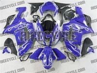 Kawasaki ZX6R White Fire on Blue Fairings