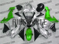 Silver/Green Kawasaki ZX10R Fairings
