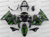 Kawasaki ZX6R Bright Green Tribal Fairings
