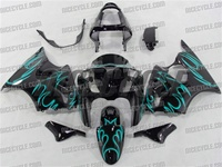 Kawasaki ZX6R Teal Tribal Fairings