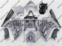 Kawasaki ZX6R Black Flame/Grey Fairings