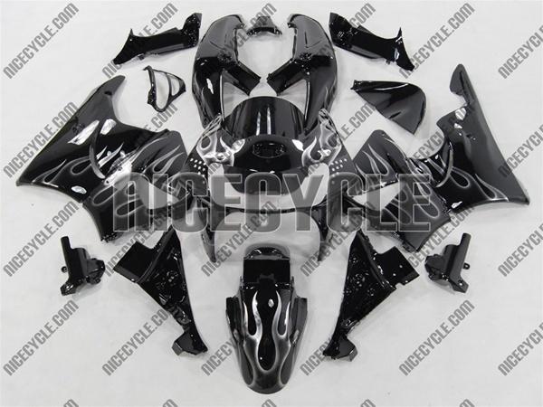 1995 1997 Honda CBR 900RR Black Silver Flame Fairings