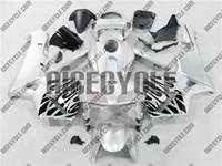 Honda CBR 600RR Black Tribal on Silver Fairings