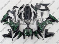 Kawasaki ZX10R Green Flame Fairings
