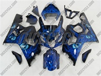 Airbrushed Blue Suzuki GSX-R 600 750 Fairings