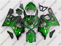 Airbrushed Green Suzuki GSX-R 600 750 Fairings