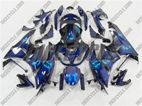 Airbrushed Blue Kawasaki ZX6R Fairings