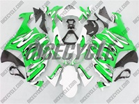 Kawasaki ZX6R Green/White Splash Fairings