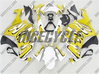 Kawasaki ZX6R Yellow/White Splash Fairings