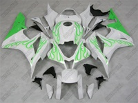 Honda CBR 600RR Green Flame on White Fairings
