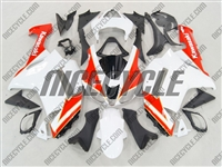 Kawasaki ZX6R Neon Red/White Fairings