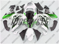 Kawasaki ZX10R White/Metallic Green Flame Fairings