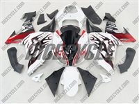 Kawasaki ZX10R White/Metallic Red Flame Fairings