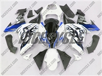 Kawasaki ZX10R White/Metallic Blue Flame Fairings