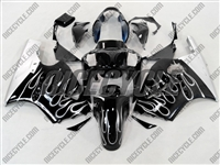 Kawasaki ZX12R Black/Silver Flame Fairings