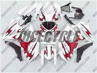 Suzuki GSX-R 1000 Red Tribal on White Fairings Fairings