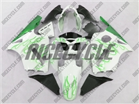 Kawasaki ZX12R White/Green Flames Fairings