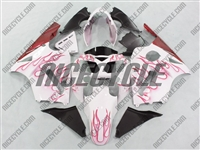 Kawasaki ZX12R White/Red Flames Fairings