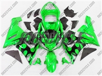 Kawasaki ZX6R Black Tribal on Green Fairings