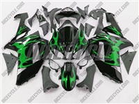 Kawasaki ZX6R Metallic Green Tribal Fairings