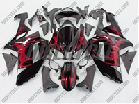 Kawasaki ZX6R Metallic Red Tribal Fairings